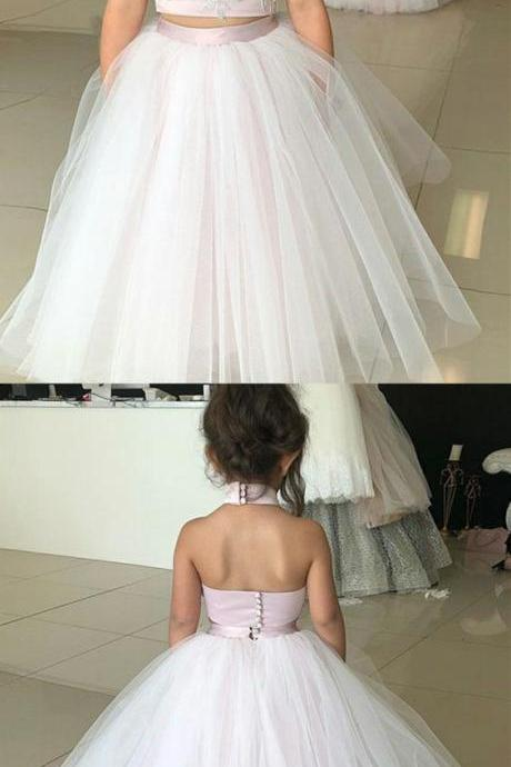 Two Piece High Neck Pearl Pink Long Flower Girl Dress with Appliques M3320