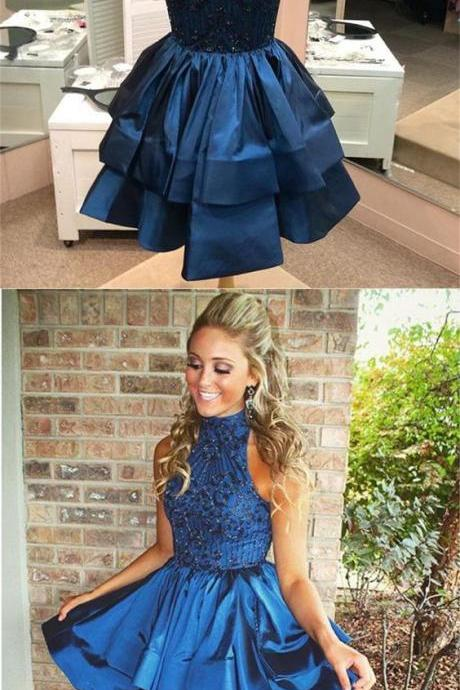 A-line High Neck Above-knee Beaded Dark Blue Backless Short Homecoming Party Dress M3355