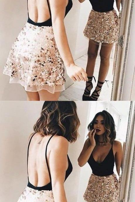 sexy backless party dresses,black short homecoming dress,unique sequnis prom dresses,spaghetti starp stain dress M3430