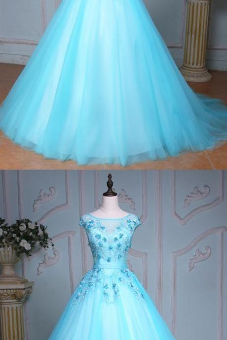 Blue tulle scoop neck long winter formal prom dress, long beaded evening dresses M3442