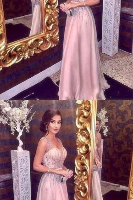 Sparkly Beading Prom Dress, V neck A Line Prom Dress, Sleeveless Long Formal Party Dress 2018 M3443