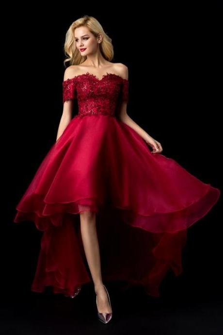 Off the Shoulder Burgundy Lace High Low Prom Dresses Plus Size Pageant Dress M3488
