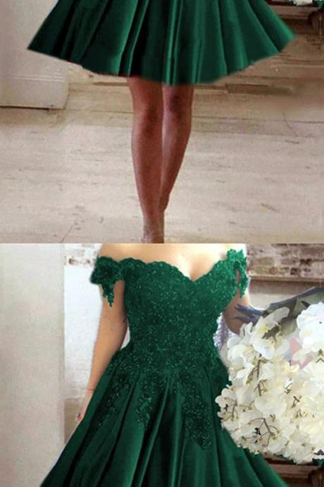 A-line V-neck Off Shoulder Lace Flower Beaded Prom Short Dresses For Homecoming M3561