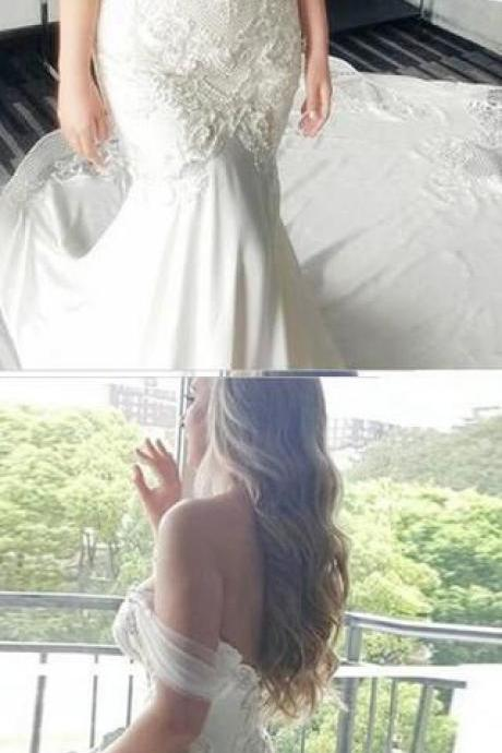 Mermaid Off-the-Shoulder Lace Long Cheap Count Train Backless Plus Size Wedding Dress M3713