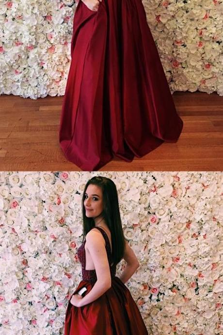 A-Line V-Neck Sweep Train Burgundy Satin Prom Dress with Beading Pockets M3720