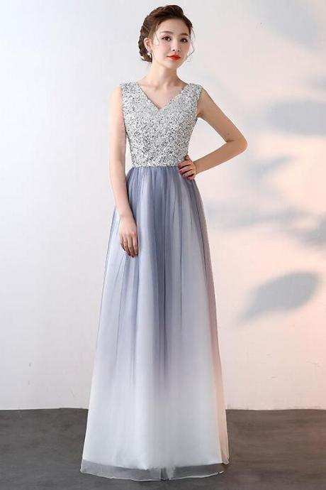 Unique Ombre Beaded A Line Long V Neck Sleeveless Prom Dress M3823