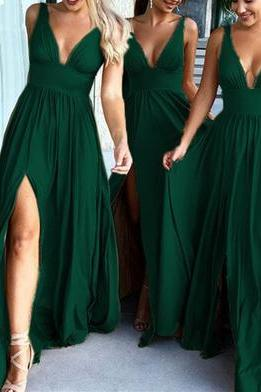 Sexy Plunge V-neck Long Split Bridesmaid Dresses For Formal Occasions M3915