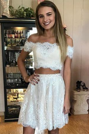 Short Lace Off Shoulder Prom Dresses Two Piece Homecoming Dresses M3940