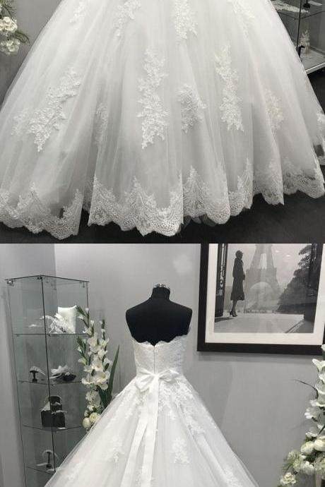 Lace Appliques Crystal Beaded Sashes Tulle Wedding Dresses Ball Gowns M3948
