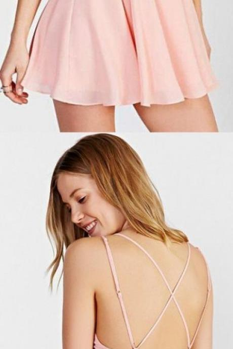 Criss-cross Prom Dresses, Pink A-line/Princess Homecoming Dresses, Short Pink Prom Dresses M3962