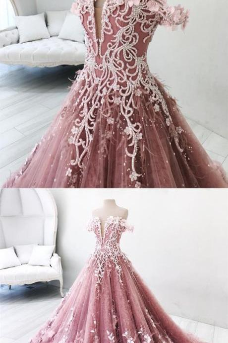 dreamy pink off shoulder prom party dresses, gorgeous beaded evening gowns with feather, chic fashion formal gowns M3963