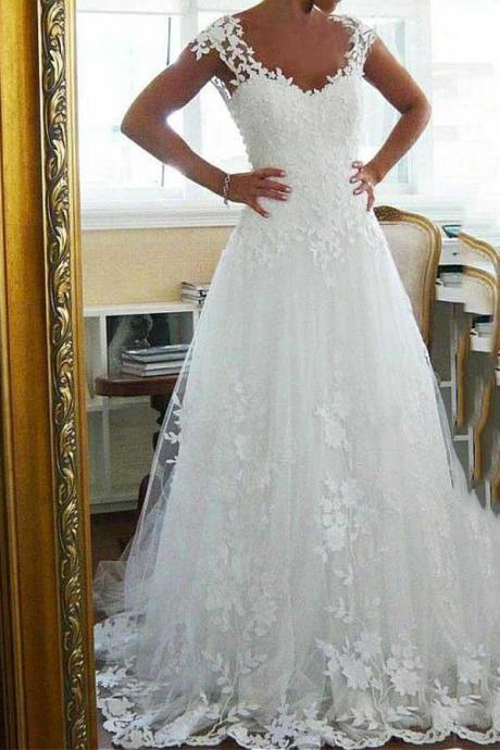 Tulle Scoop Neckline A-line Wedding Dresses with Lace Appliques M3966