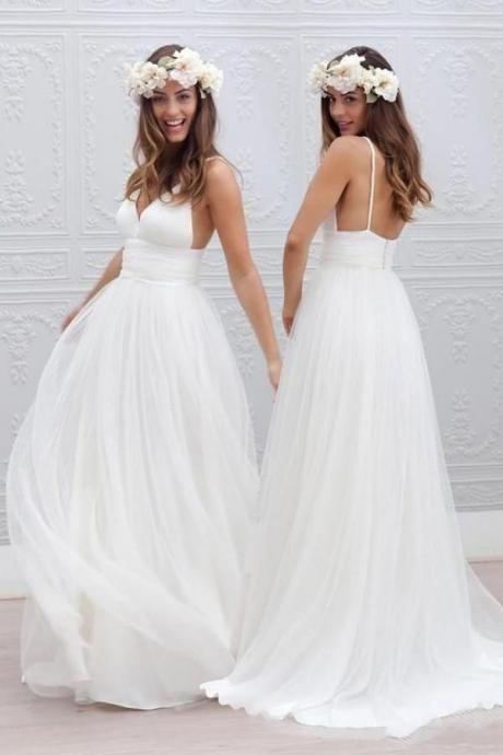 Simple V-neck Floor-Length Wedding Dress With Ruched Sash M3969
