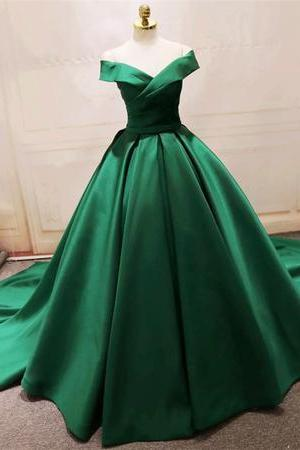 Long Green Satin V-neck Ball Gowns Prom Dresses Off The Shoulder M3991