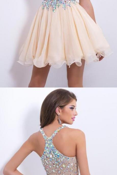 Short/Mini Halter A Line/Princess Homecoming Dresses Lace&Chiffon Beaded Bodice Color M4005