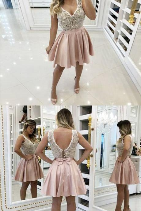 A-Line V-Neck Pink Homecoming Prom Dress with Beading M4006