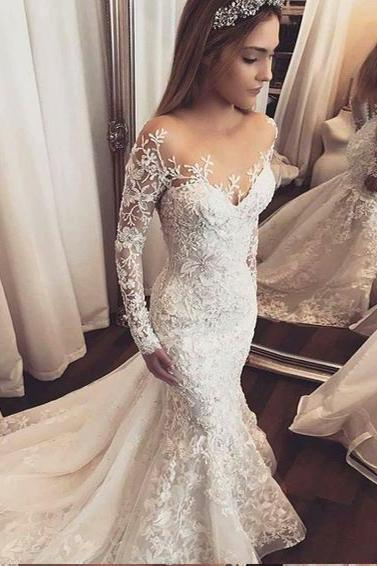 Luxury Wedding Dresses Trumpet/Mermaid Long Sleeve Sexy Bridal Gown M4029