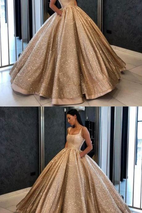 Ball Gown Prom Dress With Beads Sequins Floor-Length Gold Quinceanera Dress Sweet 16 Dresses for Girls M4036