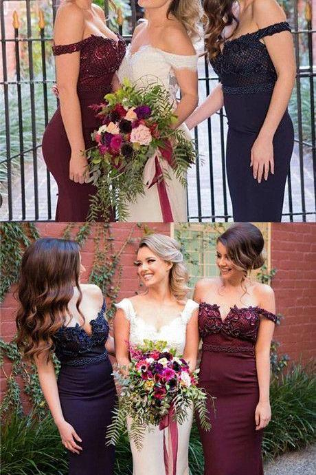 Custom Made Off Shoulder Lace Applique Long Mermaid Bridesmaid Dress M4059