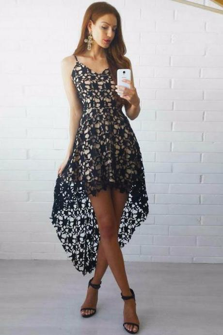 High Low Spaghetti Straps Black Lace Homecoming Party Dress M4065