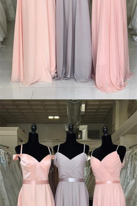 Cold-Shoulder Ruched Chiffon A-line Floor-Length Bridesmaid Dress