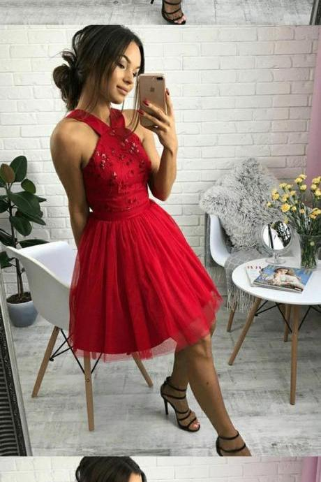 A-Line Cross Neck Short Red Homecoming Dress with Beading Pleats M4165