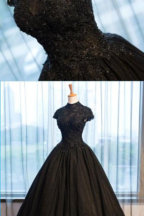 Pretty black tulle cap sleeve high neck long open back formal prom dress, beaded evening dress M4247