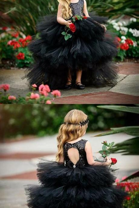 Black Tulle Flower Girl Dress , Ball Gown Flower Girls Dresses,Elegant Flower Girl Dresses with Sequins M4273