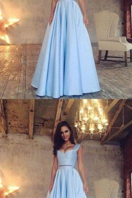 Blue Satin Prom Dress,Two Pieces Prom Dress,Custom Made Evening Dress M4284