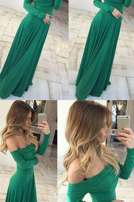 sexy Off Shoulder Sheath Green Long Prom/Evening Dress prom,prom dress M4286