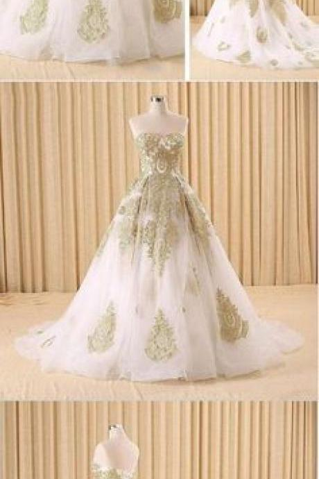 Elegant White and Gold Lace Prom Dresses,Ball Gown Evening Dresses M4289