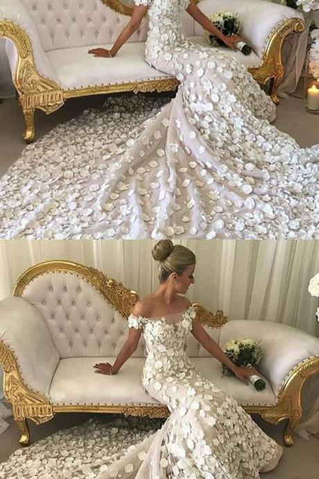 Mermaid Off-the-Shoulder Short Sleeves Court Train Wedding Dress with Appliques M4328