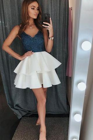 Cute v neck lace short prom dress, homecoming dress M4373