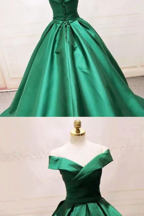 Long Green Satin V-neck Ball Gowns Prom Dresses Off The Shoulder M4377