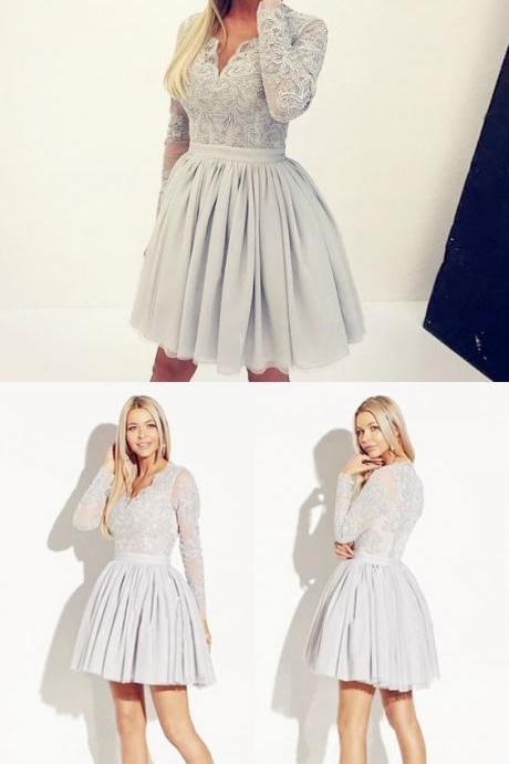 A-Line V-Neck Long Sleeves Grey Satin Homecoming Dress with Lace M4389
