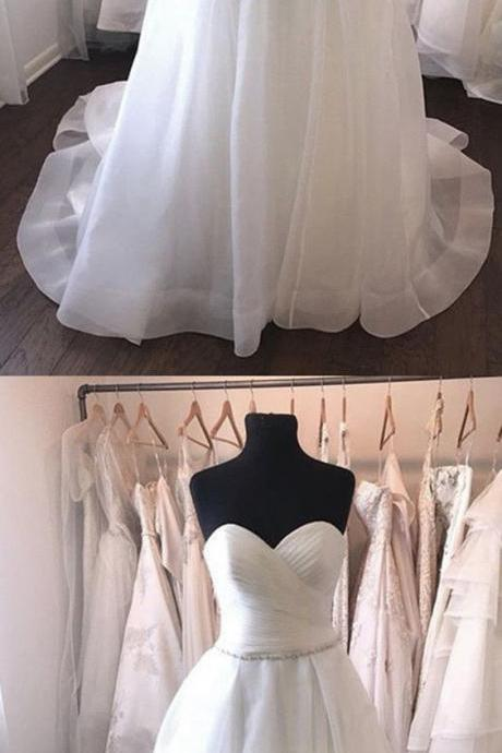 Strapless Sweetheart Ruched Beaded A-line Wedding Dress