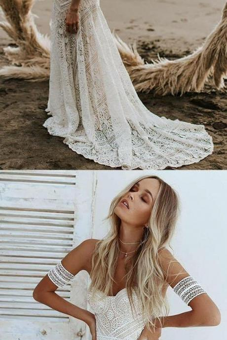 Mermaid Sweetheart Ivory Lace Beach Boho Wedding Dress M4414