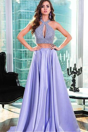 Unique Satin Halter Neckline Two-piece A-line Prom Dress With Beadings M4443
