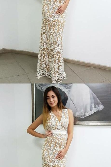 Sheath V-Neck Sleeveless Backless Floor-Length White Lace Prom Dress M4444