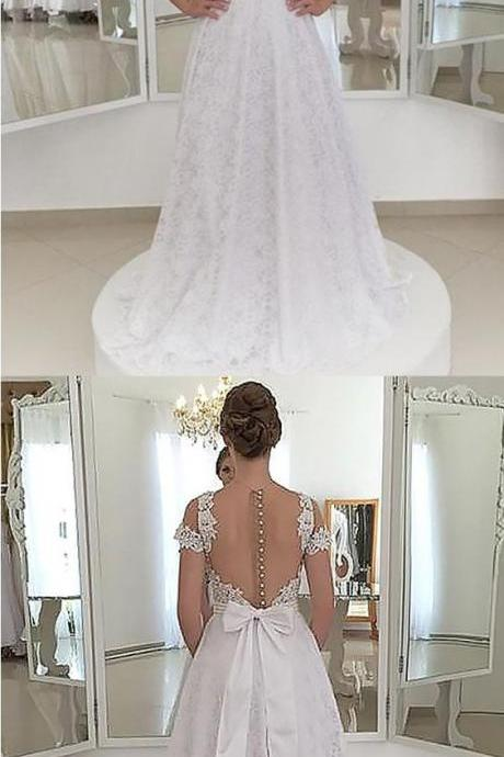 A-Line Spaghetti Straps Backless White Lace Homecoming Dress with Appliques Party Dress M4450