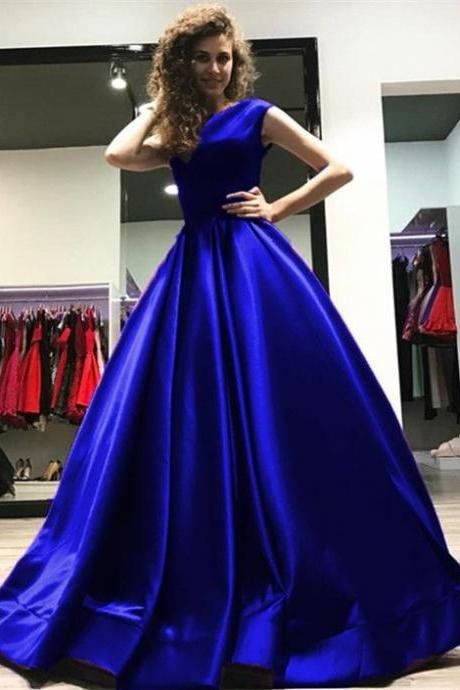A-line Open Back Long Satin Floor Length Prom Dresses 2018 M4454