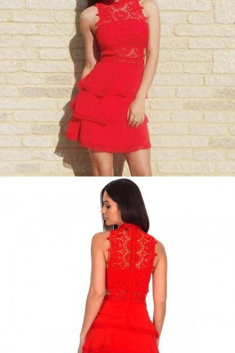 Sheath Jewel Tiered Red Homecoming Dress with Lace M4469