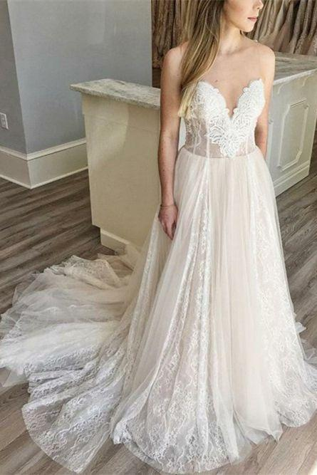 A-Line Sweetheart Sweep Train Light Champagne Wedding Dress with Appliques M4478