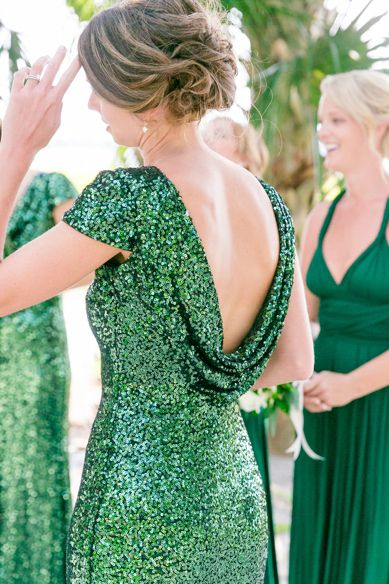 Emerald green, sequined drape-back bridesmaid dresses M4492