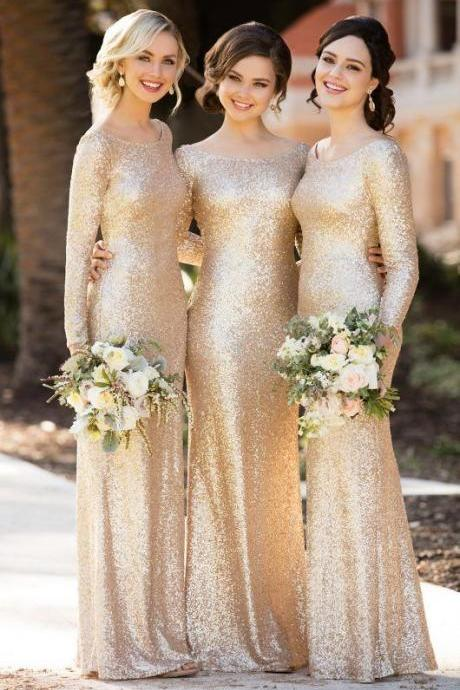 Elegant Long-Sleeved Sequin Bridesmaid Gown M4493