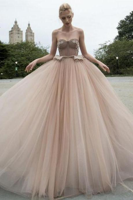 Chic Vintage Prom Dress Tulle Cheap Long Prom Dress M4515