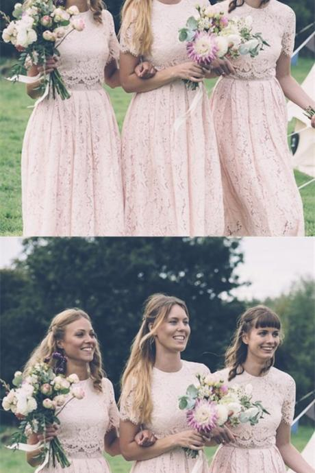 Two Piece Round Neck Short Sleeves Pink Lace Bridesmaid Dress M4525
