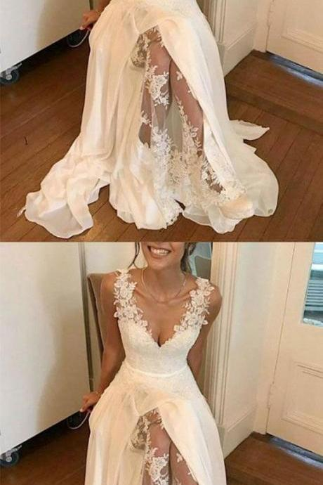 WHITE V NECK CHIFFON LACE LONG PROM DRESS, WHITE EVENING DRESS M4526