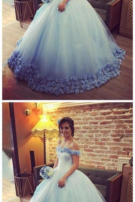 BALL GOWN OFF-THE-SHOULDER LONG PROM DRESS WITH LACE BLUE MODEST LONG EVENING DRESS WEDDING DRESSES M4530