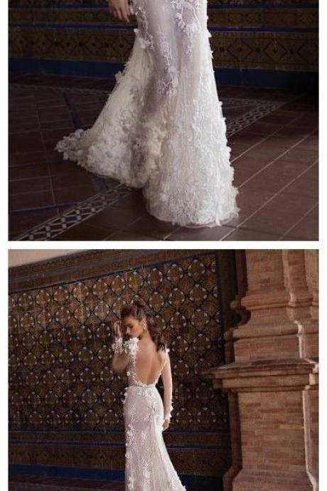 Long Sleeve Mermaid Lace Wedding Dresses Sexy Sheer Beach Wedding Dresses M4568